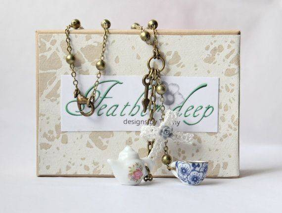 Whimsical Style Teapot Teacup Necklace Little Ivory Lace Bow
