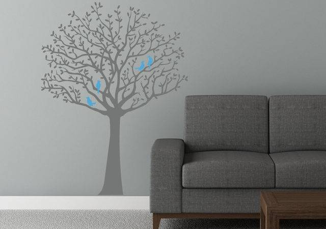 Whimsical Tree Decal Cute Birds Contemporary Wall Decals