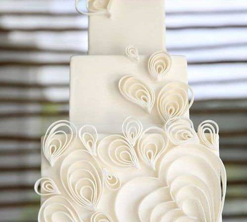Whimsical White Wedding Style Cake