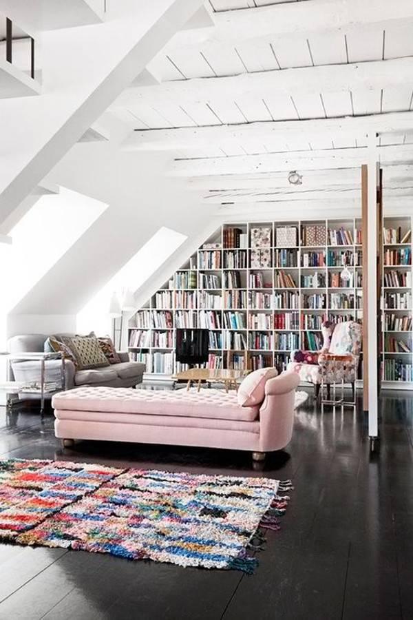 White Attic Library Design
