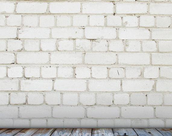 White Brick Wall Photography Backdrop Wood Floor Baby Toddler