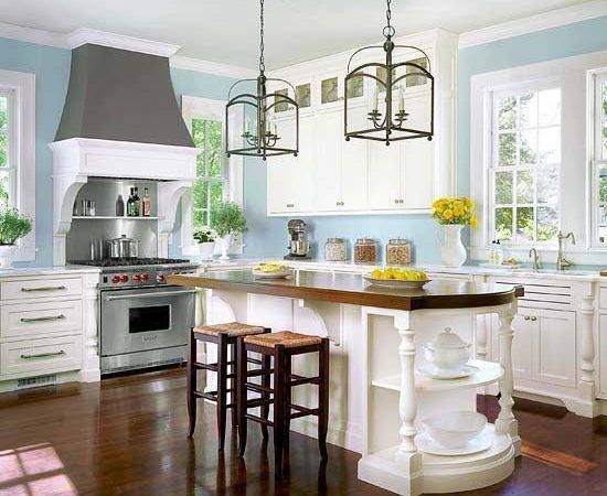 White Cabinets Pale Blue Walls Embellished Island Chic