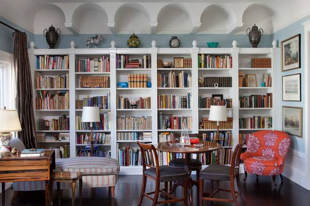 White Custom Bookcases Eclectic Living Room