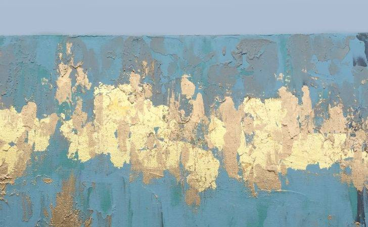 White Gold Leaf Mixed Media Abstract Painting Water Color