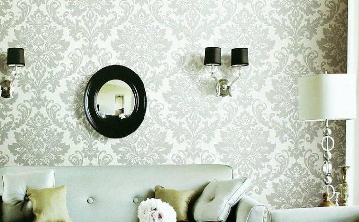 White Gray Fleur Lis Living Room Interior Design Ideas