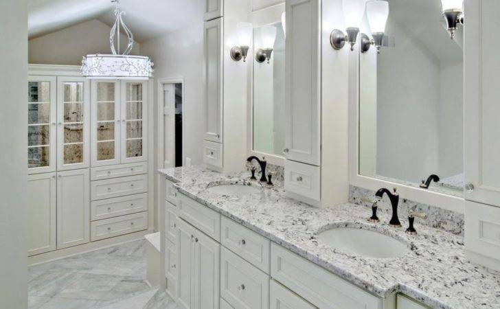 White Ice Granite Bright Airy Powder Room Decoist