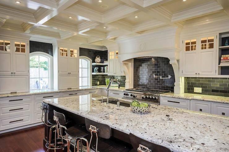 White Ice Granite High Contrast Kitchen Decoist