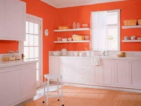 White Kitchen Cabinets Orange Wall Paint