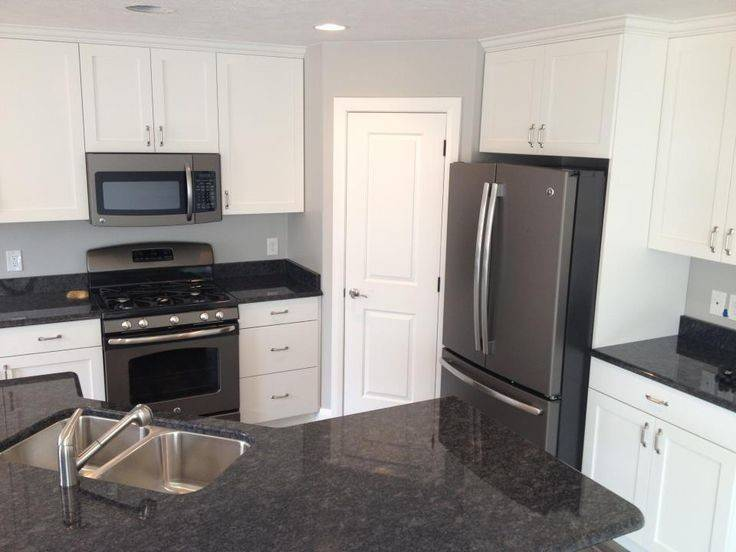 White Kitchen Dark Countertops Slate Appliances Add