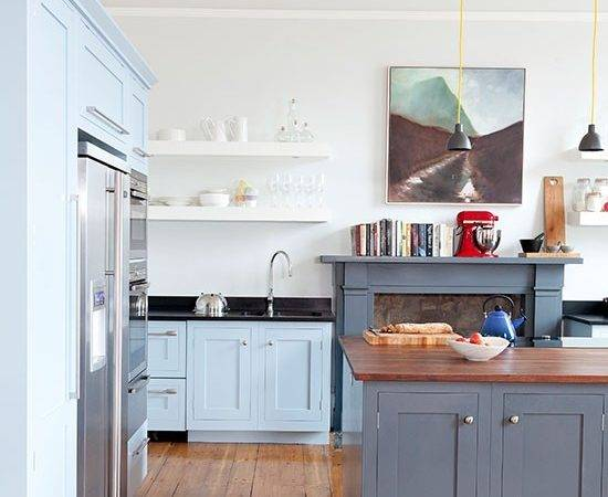White Kitchen Painted Units Blue Grey Decorating