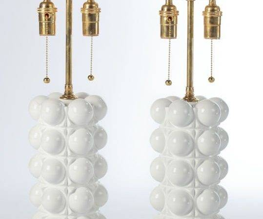 White Lacquered Glass Bubble Lamps Brass Bases Dated