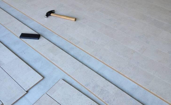 White Leather Beveled Edge Cork Flooring Forna Version Wicanders