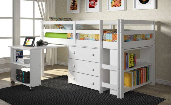 White Loft Bed Pull Out Desk Chest Drawer Also Book