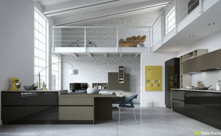 White Loft Kitchen Interior Design Ideas