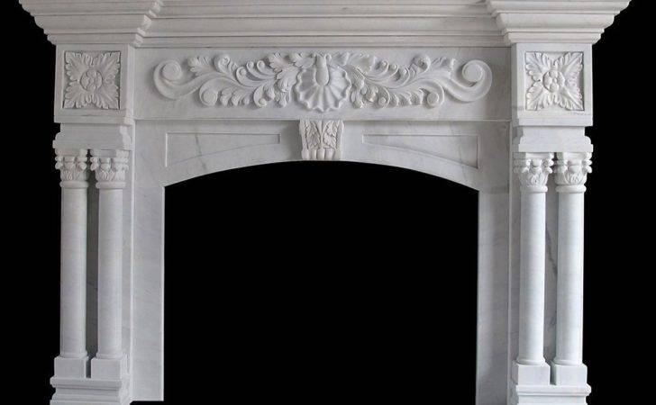 White Marble Columns Round Tapered Decorative Cap