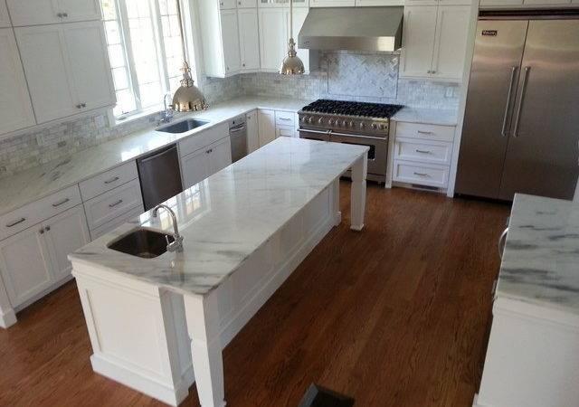 White Marble Kitchen Modern Countertops Boston