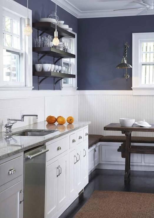 White Navy Blue Kitchen Design Walls Chair Rail