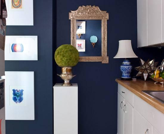 White Navy Blue Kitchen Eclectic Sara Tuttle Interiors