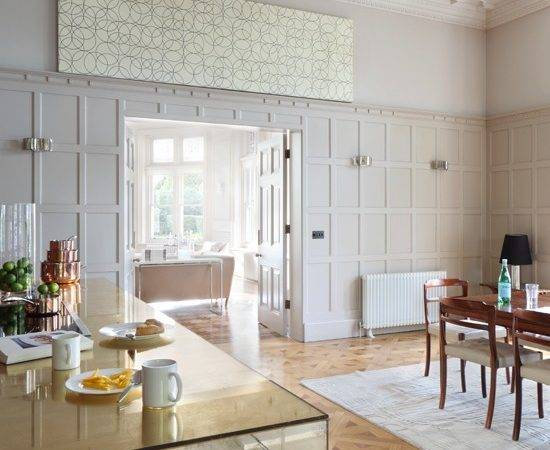 White Panelled Contemporary Kitchen Diner Decorating