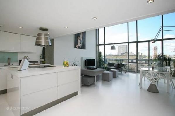 White Resin Floors Industrial Look Feel Modern Kitchen Diner