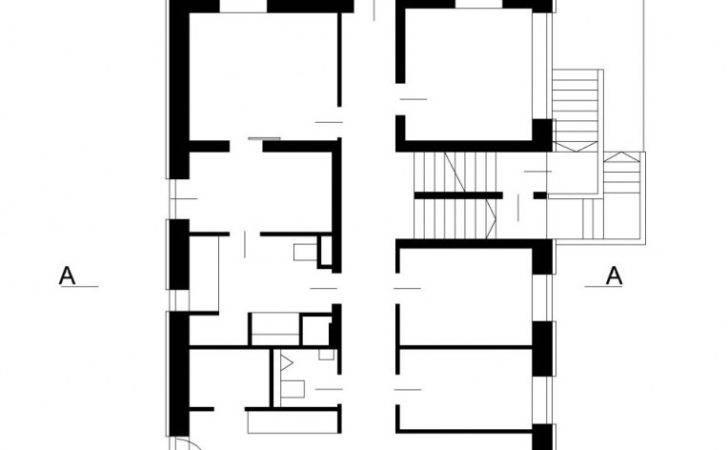 White Sketch Long Shape House Large Living Room Narrow Hallway