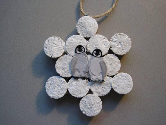 White Snowflake Wine Cork Ornament