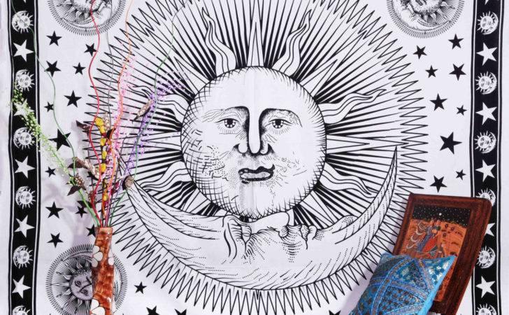 White Sun Moon Tapestry Stars Aanjaneya