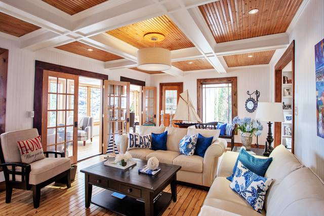 White Wood Beach House Style Living Room