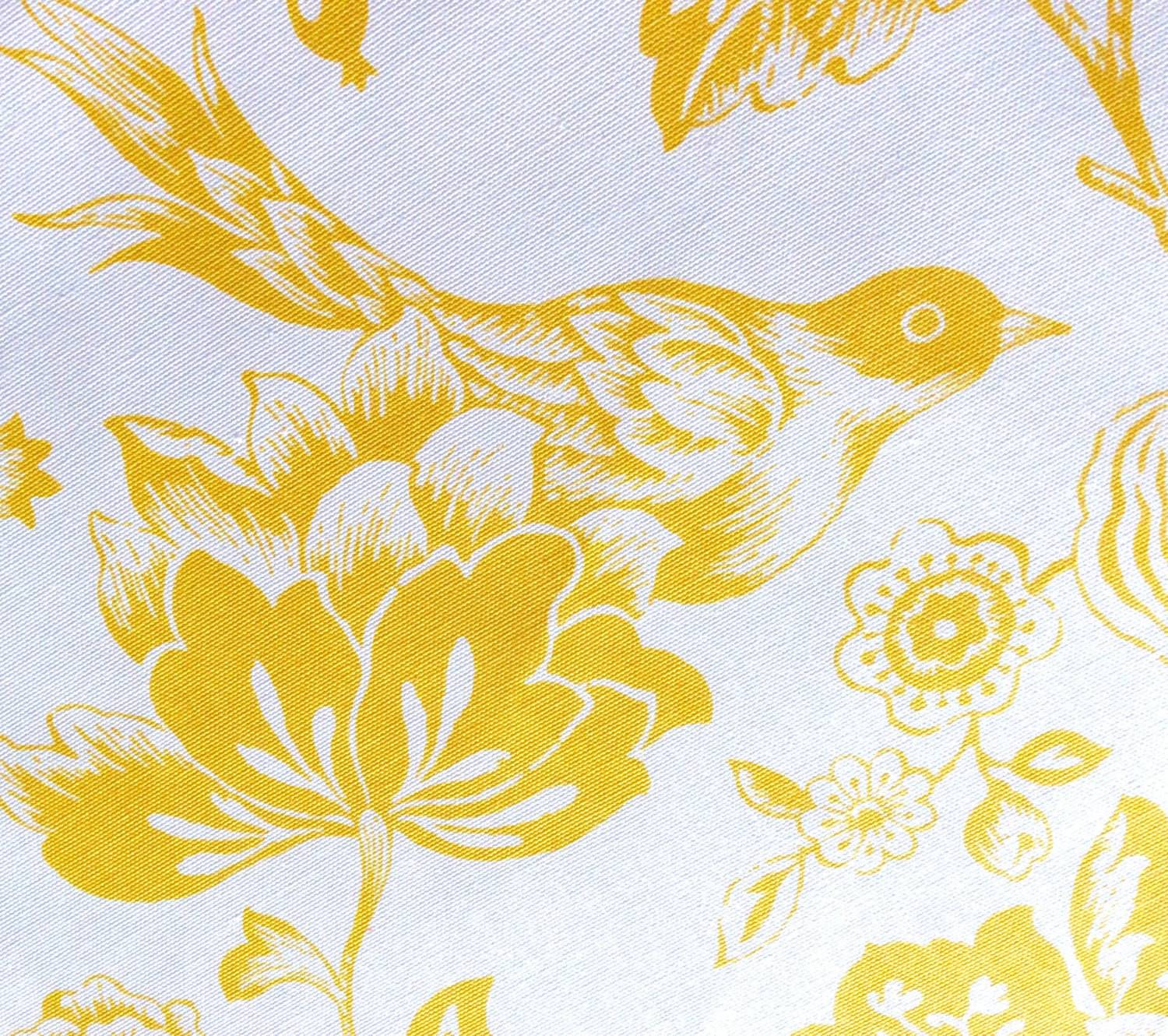 White Yellow Toile Fabric Yard Thebonbonshoppe