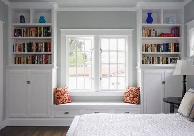 Window Bookcases Seat Bench Design Bookcase
