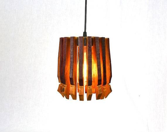 Wine Barrel Hanging Pendant Light Basket Open Recycled