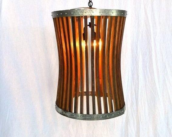 Wine Barrel Hanging Pendant Light Large Concave Craftsman Series