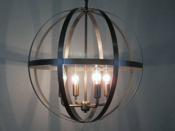 Wine Barrel Ring Chandelier Orb Ceiling Light Vintageironworks