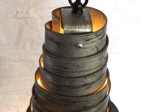 Wine Barrel Ring Hanging Pendant Light Recycled Napa