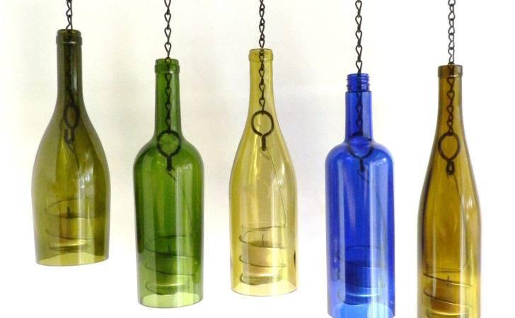 Wine Bottle Candle Holder Hanging Hurricane Lanterns Set