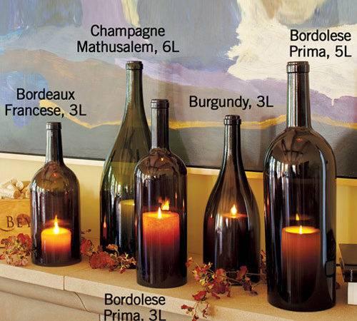 Wine Bottle Hurricane Candle Holders Green Head
