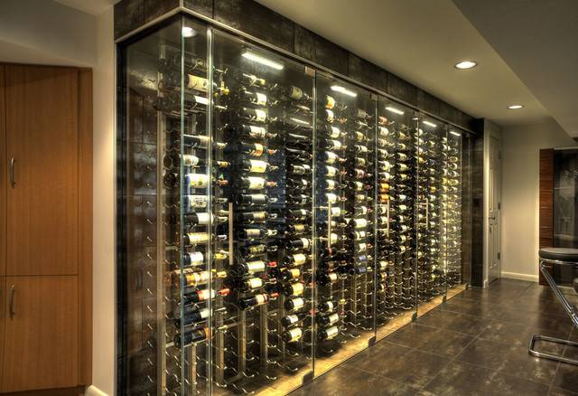 Wine Cellar Storage Room Glass Bar Countertop Contemporary