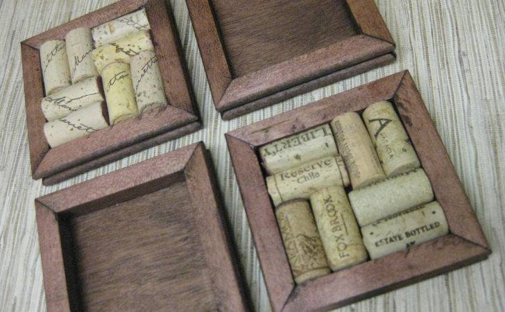 Wine Cork Coaster Diy Kit Set Made Reclaimed Wood