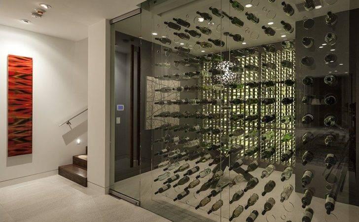 Wine Room Cellar Houses Tasting Area Viewable Through