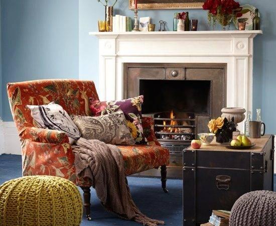 Wohnideen Wohnzimmer Gelb Blau Rot Deko Landhaus Stil