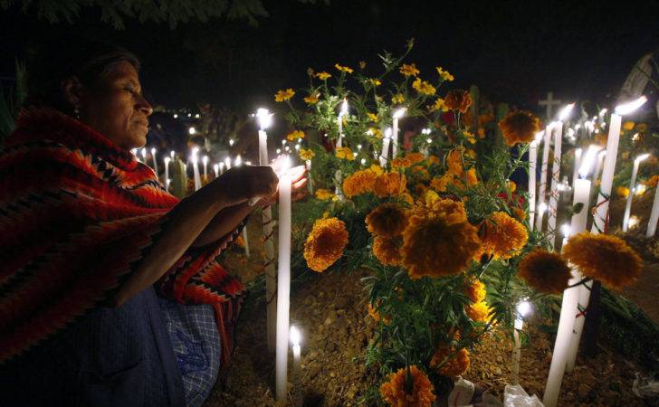 Woman Lights Candle Grave Cemetery Oaxaca November