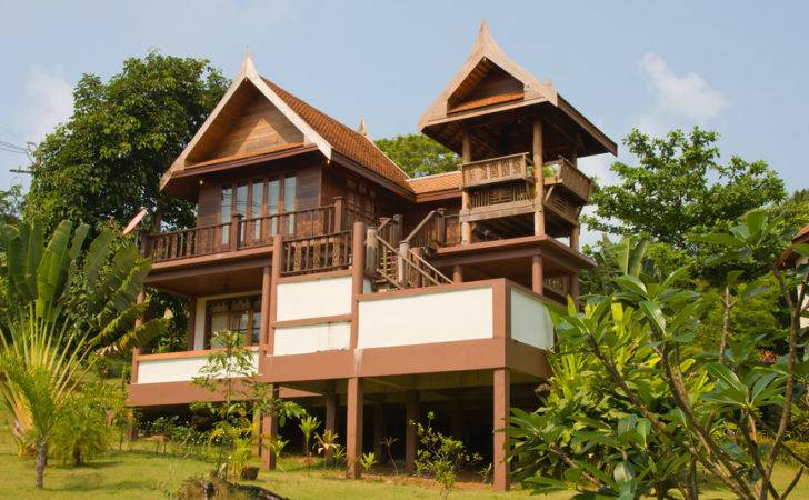 Wood Beach House Thailand Tropical Trees Scattered Throughout