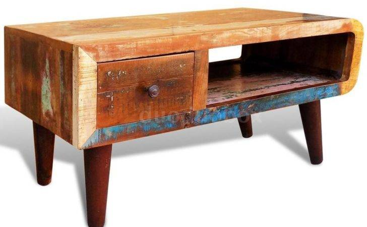 Wood Coffee Tea Table Curved Edge Retro Antique Style Ebay
