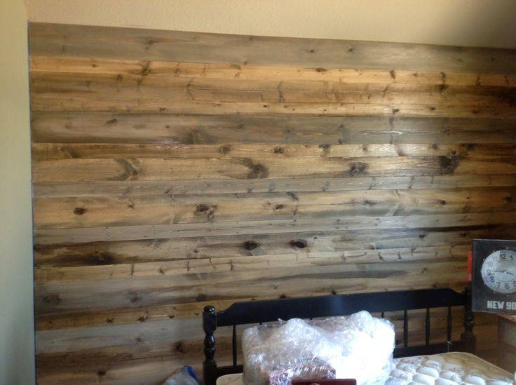 Wood Feature Walls New Pine Planks Stained Look Like Salvaged