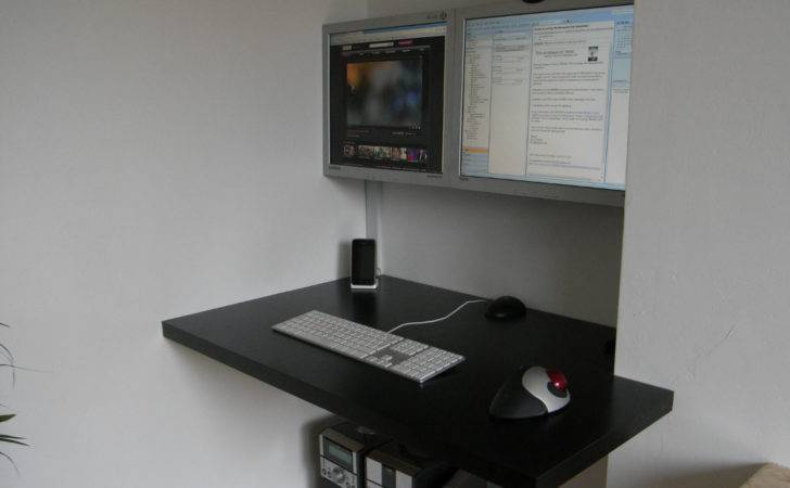 Wood Floating Desk Top Supported Against Wall Home