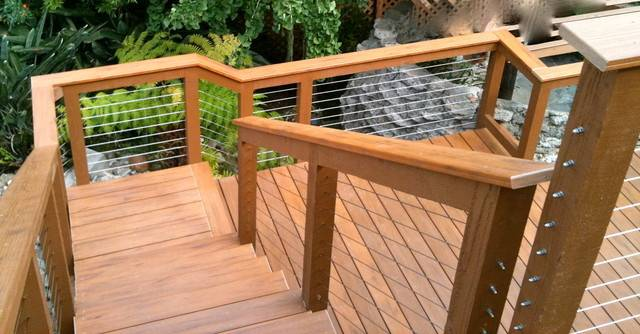 Wood Framed Cable Railing Systems Modern Fencing San Diego