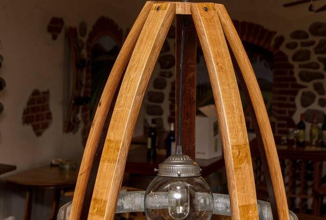 Wood Glass Globe Wine Barrel Stave Light