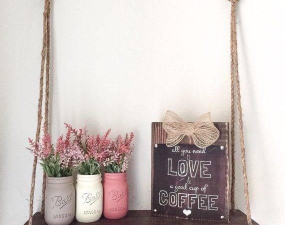 Wood Hanging Shelf Rope Mothers Day Gift Mason Jars Display