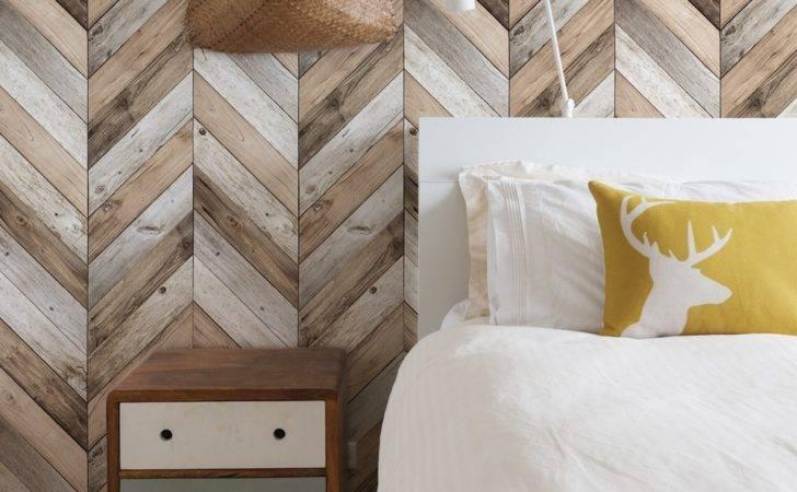 Wood Herringbone Peel Stick Chevron Wall