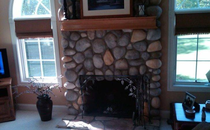 Wood Mantle Existing Stone Fireplace